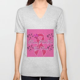 Power Pink for the Cure - Butterfly Blitz Unisex V-Neck