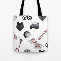 teen wolf Tote Bags featuring Teen wolf  by CourtneyColumbus