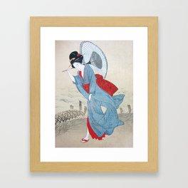 Geisha strolling in kimono with umbrella Framed Art Print