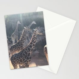 Giraffe National Park // Spotted Long Neck Graceful Creatures in Wildlife Preserve Stationery Cards