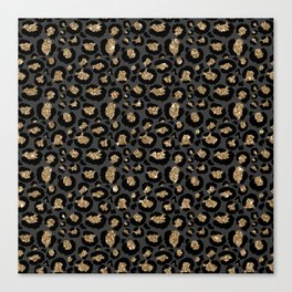 Black Gold Leopard Print Pattern Canvas Print