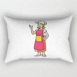 Happy Cheerful Female Chef Wearing Apron Rectangular Pillow
