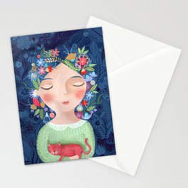 There are women that dreams with red cats Stationery Cards