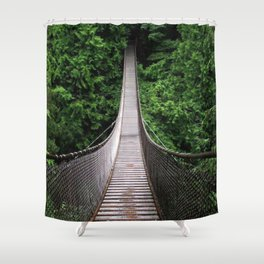Beautiful Suspending Pendant Bridge In Idyllic Greenery Ultra HD Shower Curtain