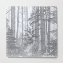Gray Misty Forest Metal Print