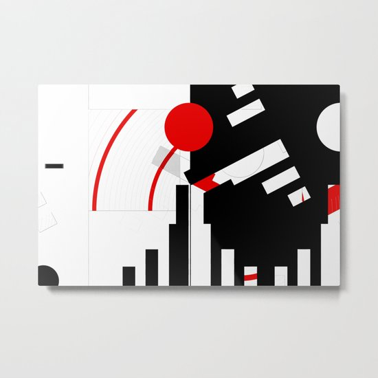black and white meets red Version 16 Metal Print