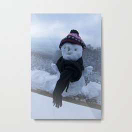 Silly Snowman Metal Print