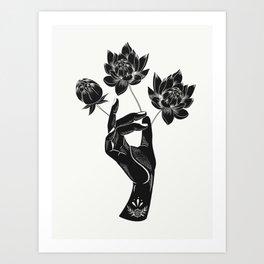 Hand holding lotus flowers  Art Print