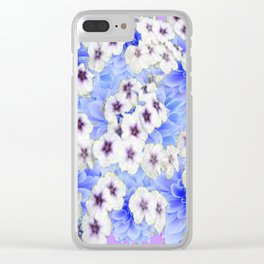 WHITE   FLORALS WITH BLUE FLOWERS Clear iPhone Case