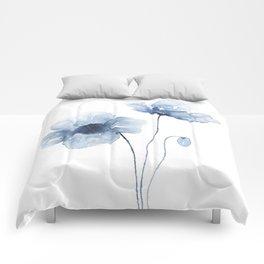 Blue Watercolor Poppies Comforters