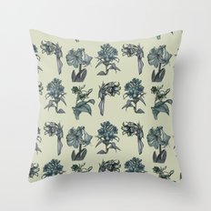 Botanical Florals | Vintage Blue Throw Pillow