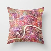 london Throw Pillows featuring London  by MapMapMaps.Watercolors