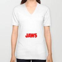 jaws V-neck T-shirts featuring Jaws by IIIIHiveIIII