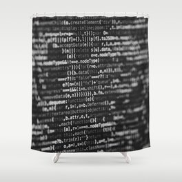 The Code (Black and White) Shower Curtain