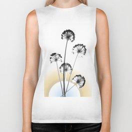 black and white flower wallpaper and the sun, flower decor, printable art Biker Tank