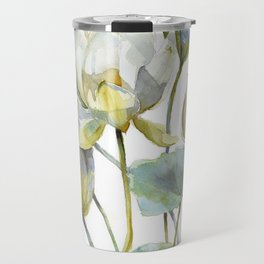 Lotus Plant and Fish Zen Design Watercolor Muted Pallet Botanical Art Travel Mug
