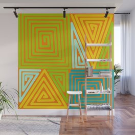 citrus zig zags and paperclips Wall Mural