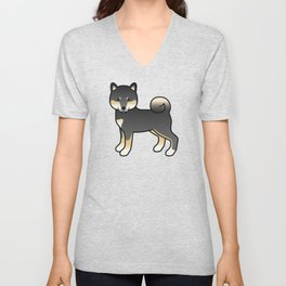 Black And Tan Shiba Inu Cute Cartoon Dog Unisex V-Neck