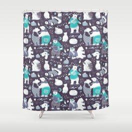 Arctic bear pajamas party Shower Curtain