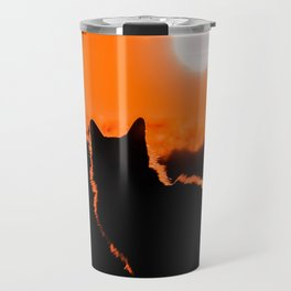 Cat and Sunset Travel Mug