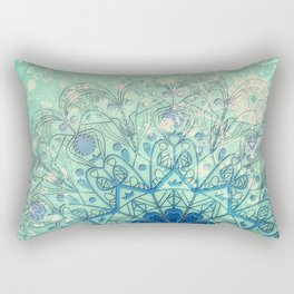 Mandala in Sea Green and Blue Rectangular Pillow