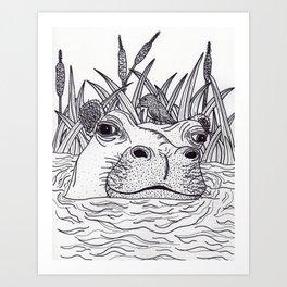 Black and White Hippo Art Print