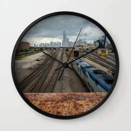 Traveling to Chicago Wall Clock