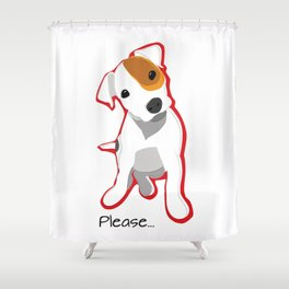 """""""Please"""" Jack Russell Terrier Puppy Shower Curtain"""