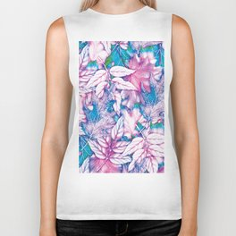 Colorful pink teal watercolor abstract leaves floral Biker Tank