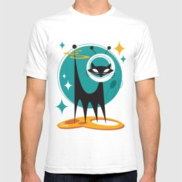Atomic Space Cat Mid Century Modern Art Scooter T-shirt