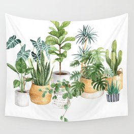 Watercolor house plants potted plants Wall Tapestry