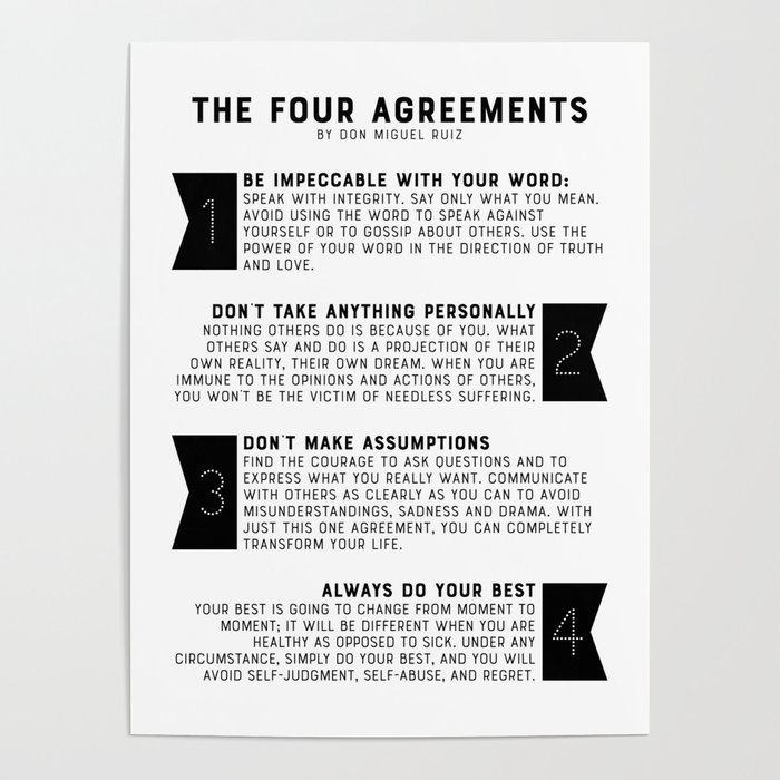 The Four Agreements By Don Miguel Ruiz Poster By Graphicbicycle