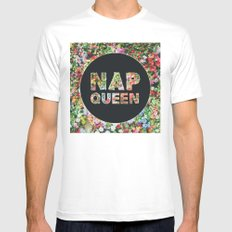 Nap Queen in Floral Flowers White MEDIUM Mens Fitted Tee