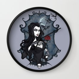 Morticia Addams portrait Wall Clock