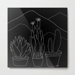 White on Black Cactus and Mountain Scene Minimal Illustration Metal Print