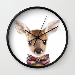 Baby Deer With Bow Tie, Baby Animals Art Print By Synplus Wall Clock