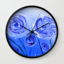 Puddle of Roses Blue White Abstract Wall Clock