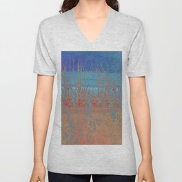 Modern abstract blue red orange tree branches stripes Unisex V-Neck