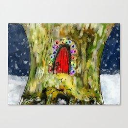 Fairy Door in the Snow Canvas Print