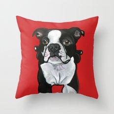 Bobo the Boston terrier Throw Pillow