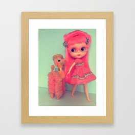 Rose walking her poodle Framed Art Print