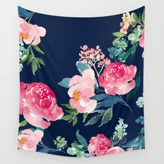 Navy and Pink Watercolor Peony Wall Tapestry