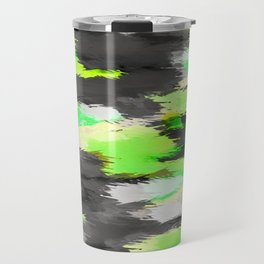 psychedelic camouflage splash painting abstract in green yellow and black Travel Mug
