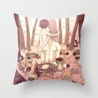 guinea pig Throw Pillows featuring guinea pig paradise by szerk
