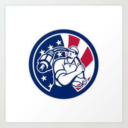 American Cable Installer USA Flag Icon Art Print