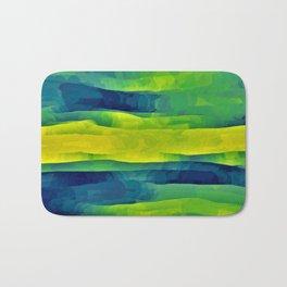 Acid Yellow and Indigo Abstract Bath Mat