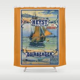 Antique travel fishing boat Heist Duinbergen Shower Curtain