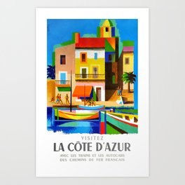 1963 Cote d'Azur French Riviera Vintage World Travel Poster Art Print