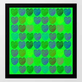 neon hearts  Art Print