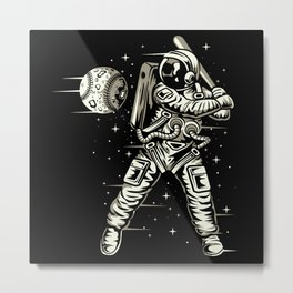 Space Baseball Astronaut Metal Print